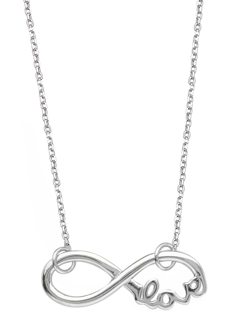 Infinity Necklace, Word Love Adjustable East2West Rhodium on Sterling Silver