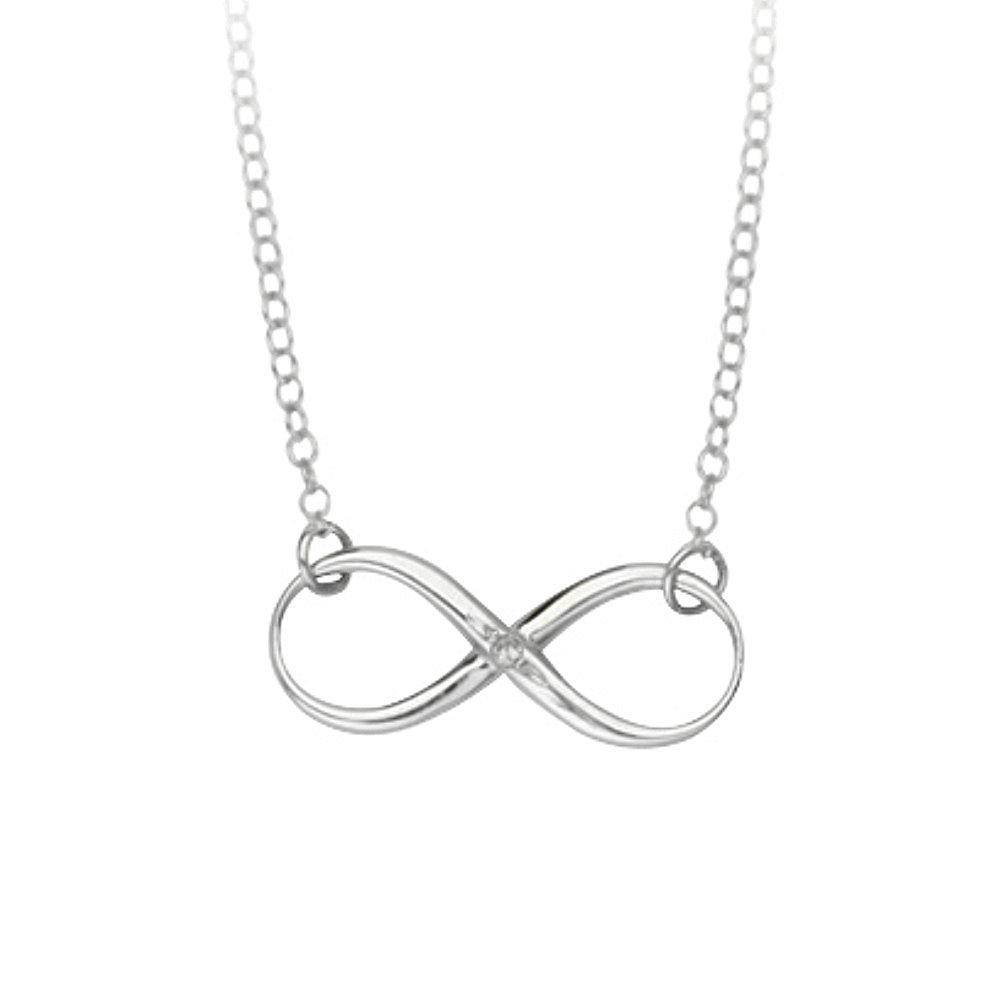 Infinity Necklace Rhodium-plated Sterling Silver with Genuine Diamond Accent