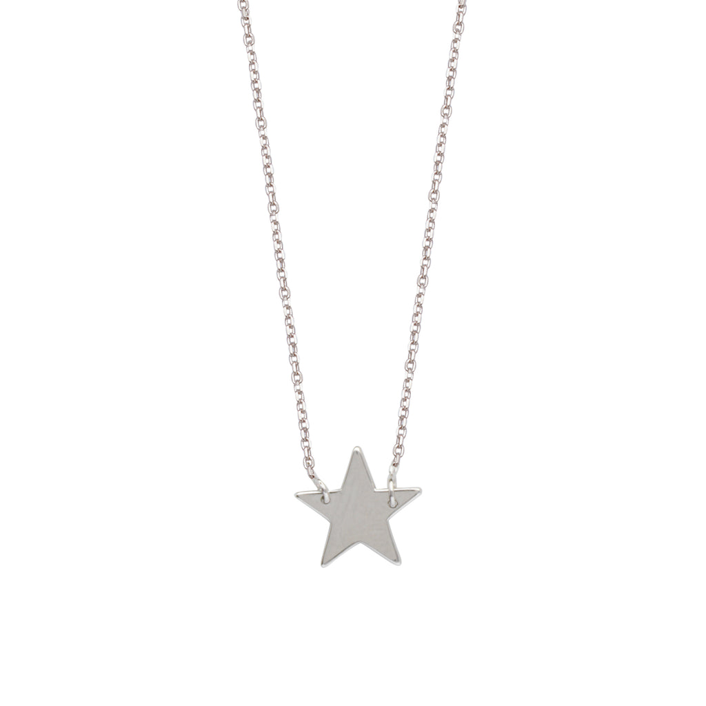 East2West Star Necklace Rhodium on Sterling Silver - Nontarnish