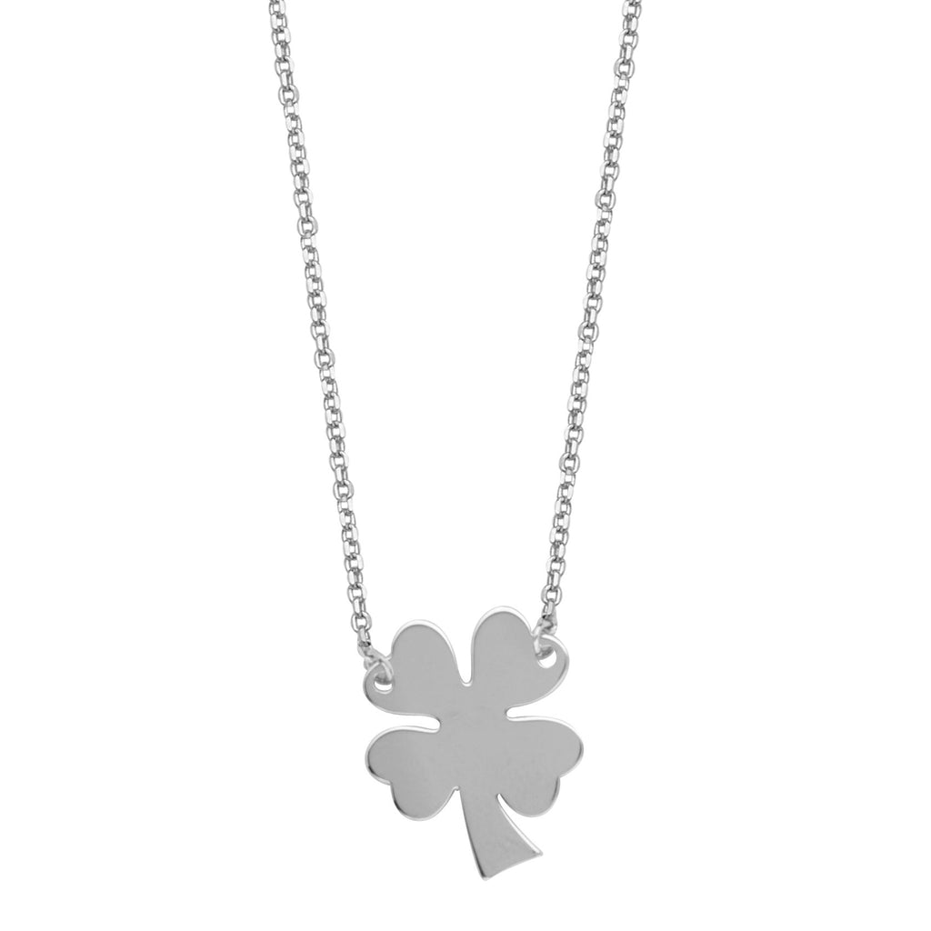 East2West 4 Leaf Clover Necklace Rhodium on Sterling Silver - Nontarnish