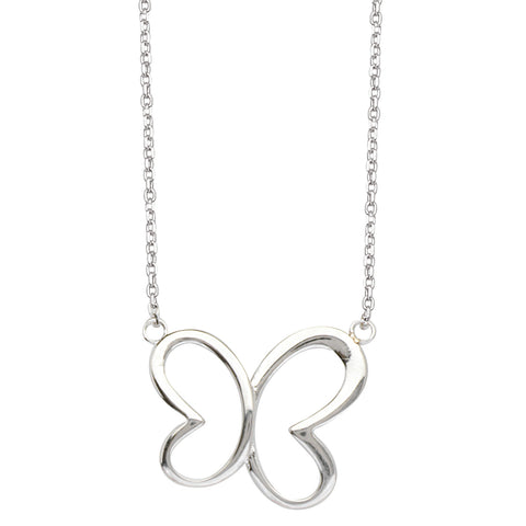 East2West Heart Butterfly Necklace Rhodium on Sterling Silver - Nontarnish