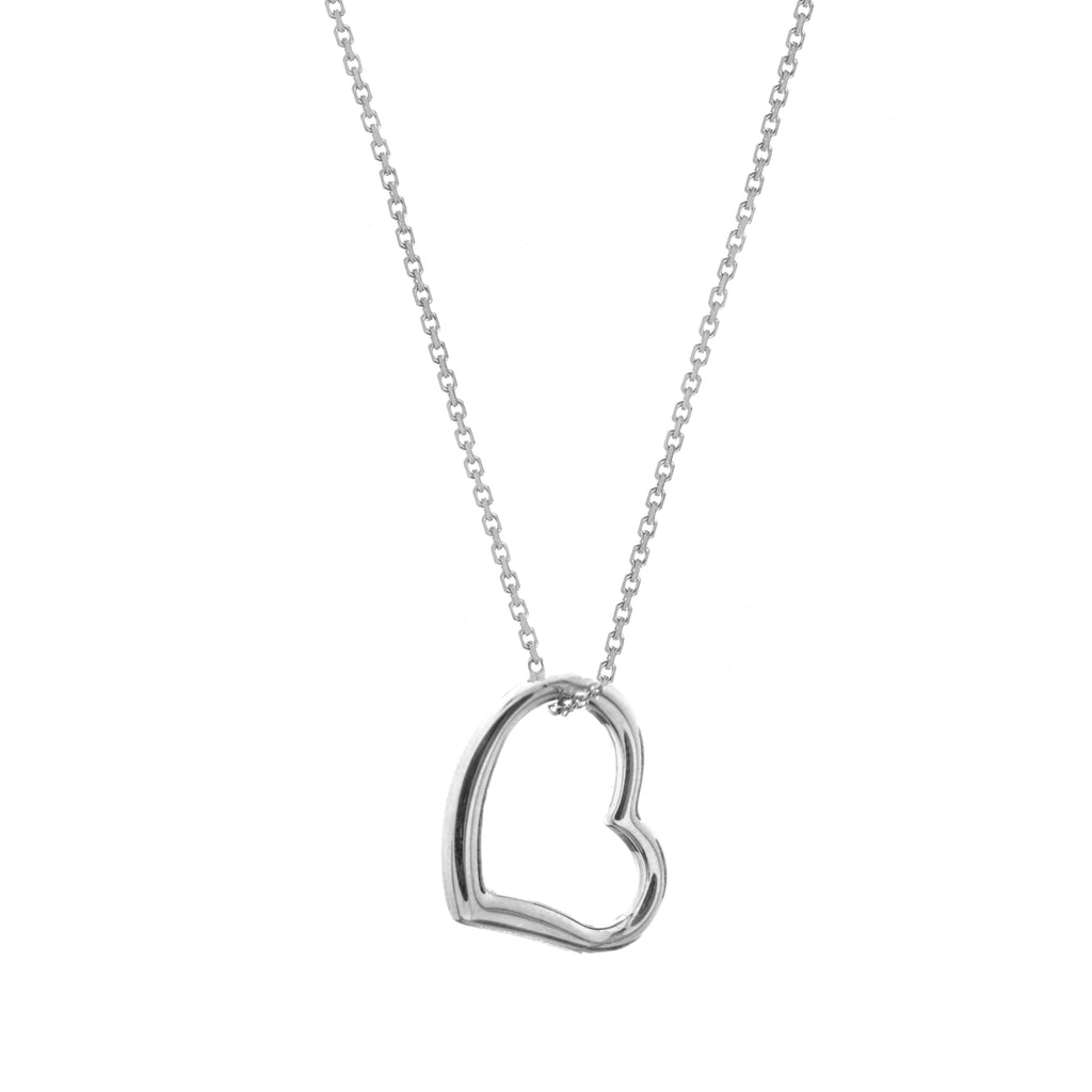 14k White Gold Open Heart Necklace Adjustable Length