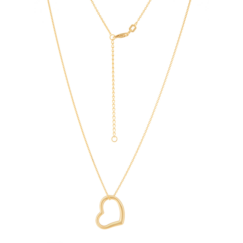 14k Yellow Gold Open Heart Necklace Adjustable Length