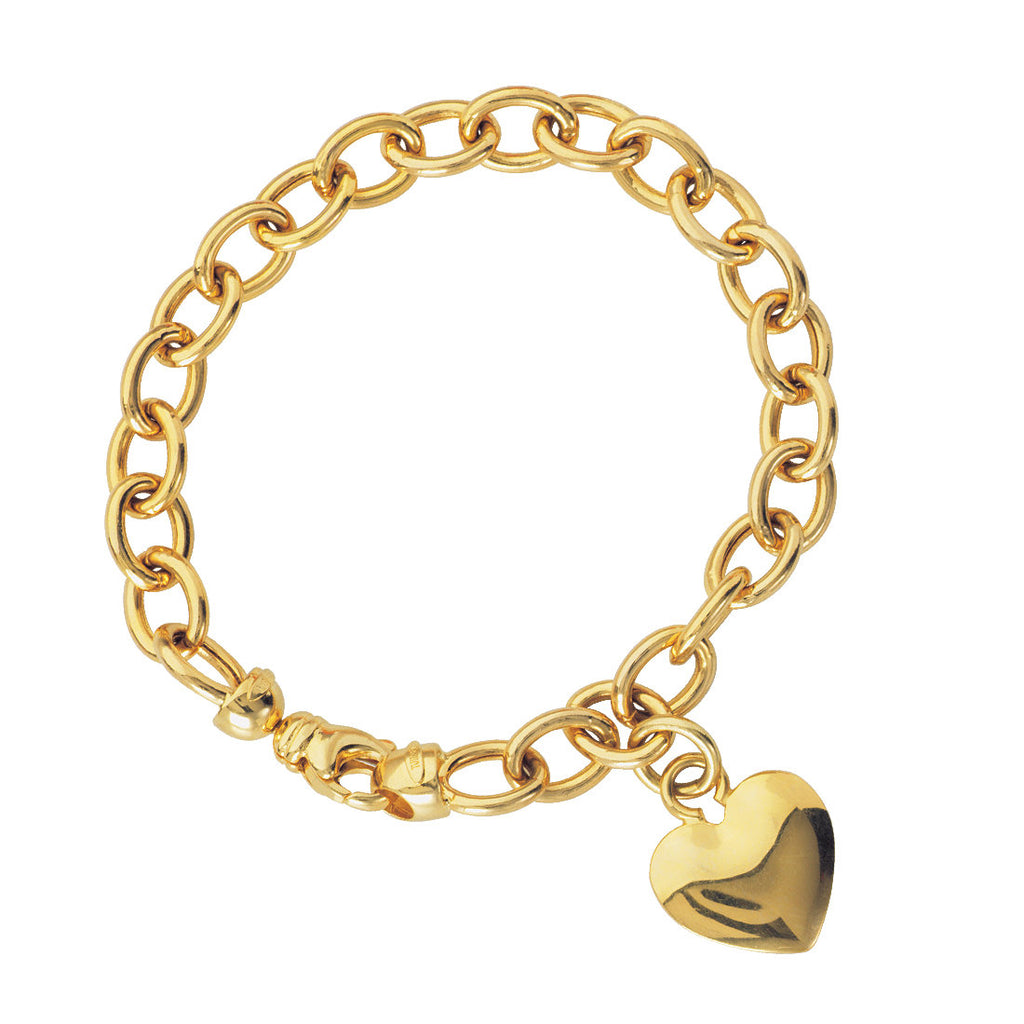14k Yellow Gold Heart Charm Bracelet with Oval Rolo Chain