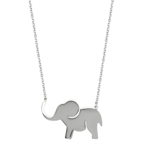 East2West Elephant Necklace Rhodium on Sterling Silver - Nontarnish