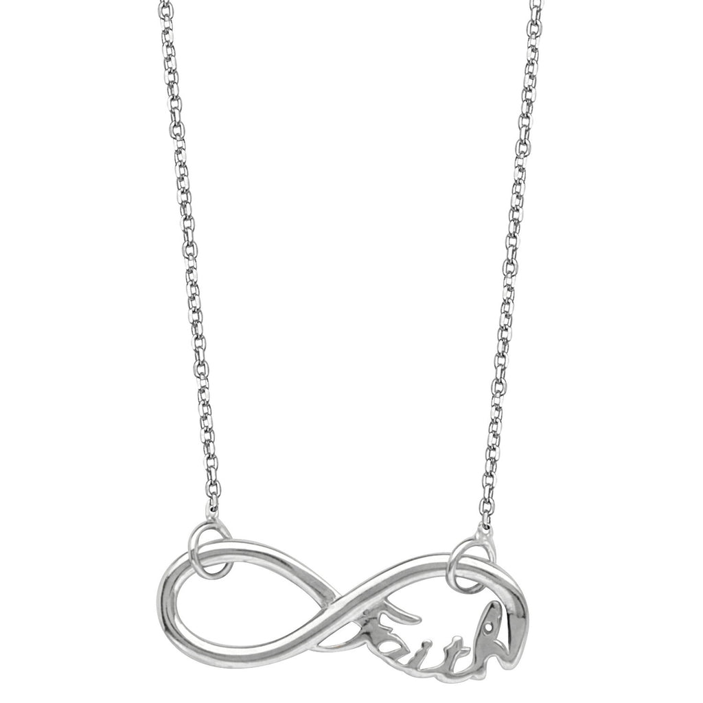 Infinity Necklace, Word Faith Adjustable East2West Rhodium on Sterling Silver