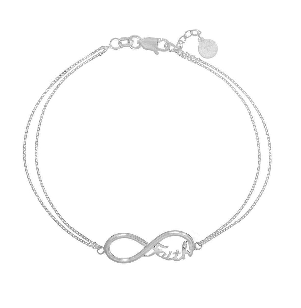Infinity Bracelet Word Faith Adjustable East2West Rhodium on Sterling Silver