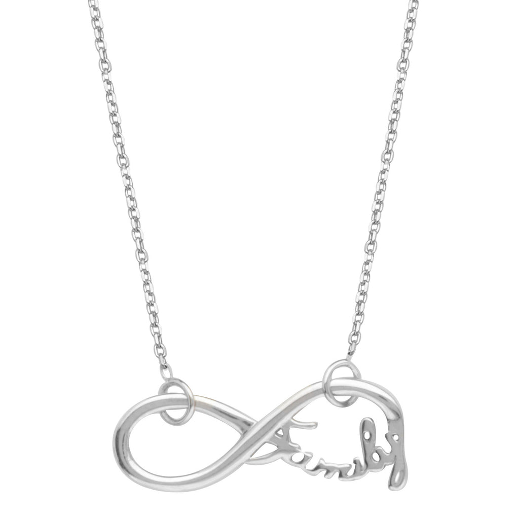 Infinity Necklace, Word Family Adjustable East2West Rhodium on Sterling Silver
