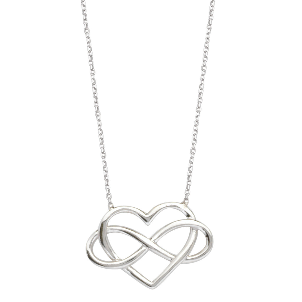 East2West Heart Infinity Necklace Rhodium on Sterling Silver - Nontarnish