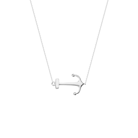 East 2 West 14k White Gold Side Set Anchor Necklace