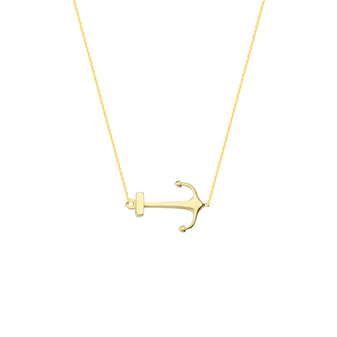 East 2 West 14k Yellow Gold Side Set Anchor Necklace