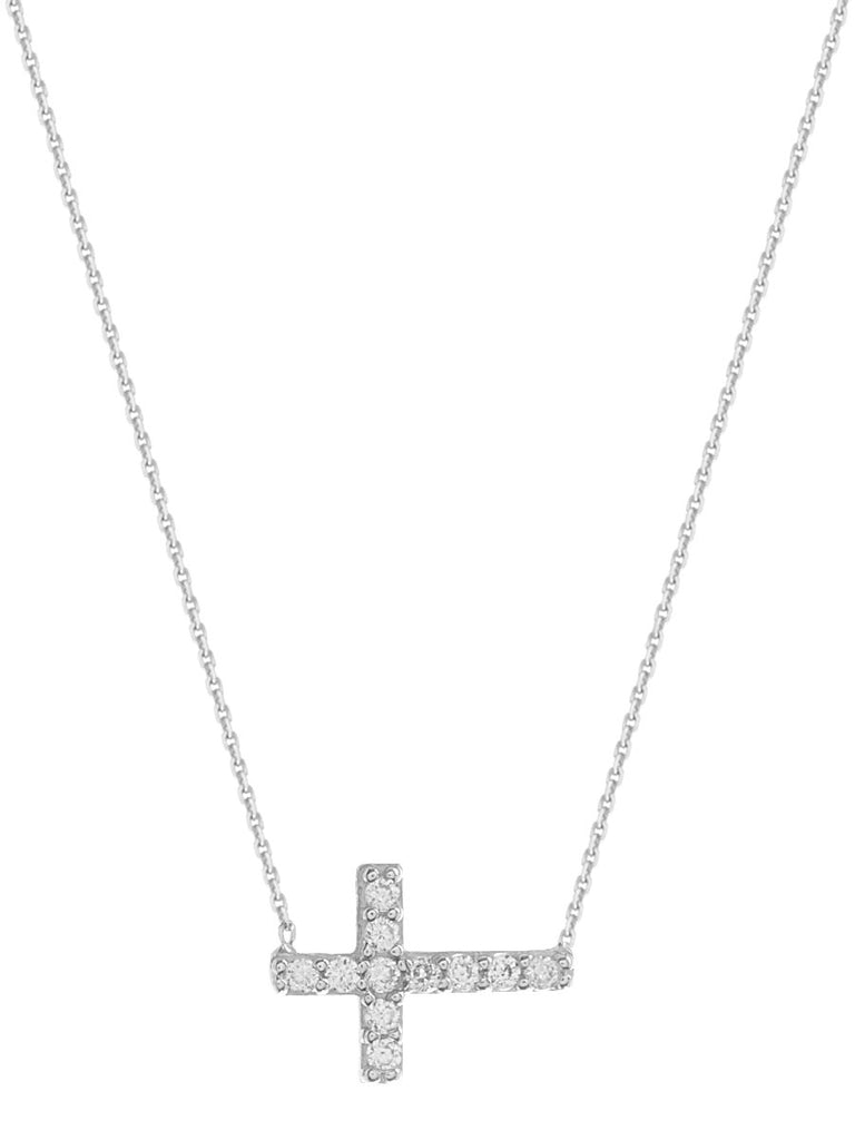 Mini Side Set Cross Necklace Cubic Zirconia Adjustable Sterling Silver