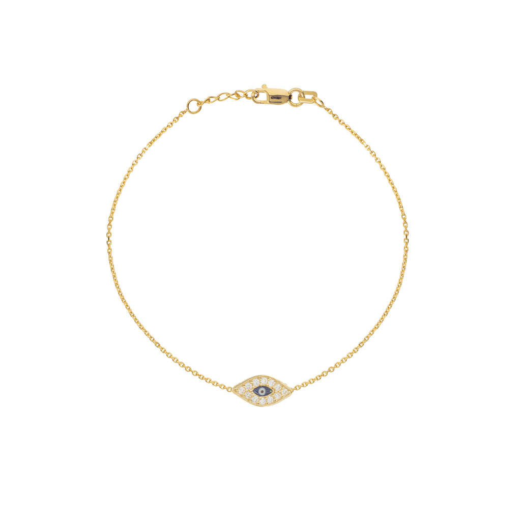 14k Yellow Gold Mini Evil Eye Bracelet with Cubic Zirconia East2West Collection