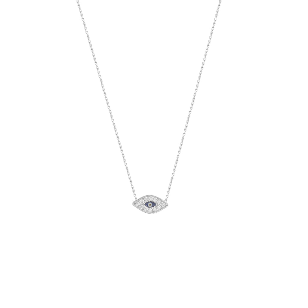 14k White Gold Mini Evil Eye Necklace with Cubic Zirconia East2West Collection