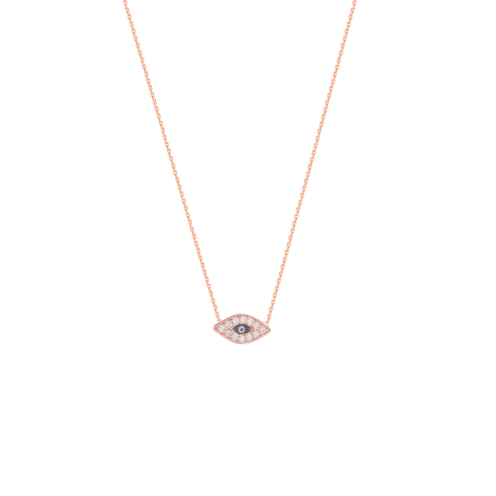 14k Rose Gold Mini Evil Eye Necklace with Cubic Zirconia East2West Collection