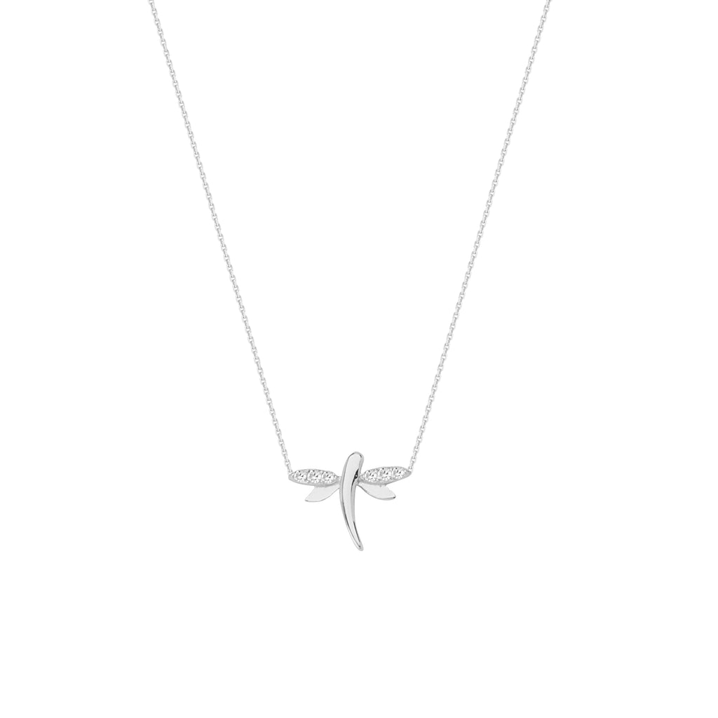 Mini Dragonfly Necklace Rhodium on Sterling Silver Cubic Zirconia East 2 West