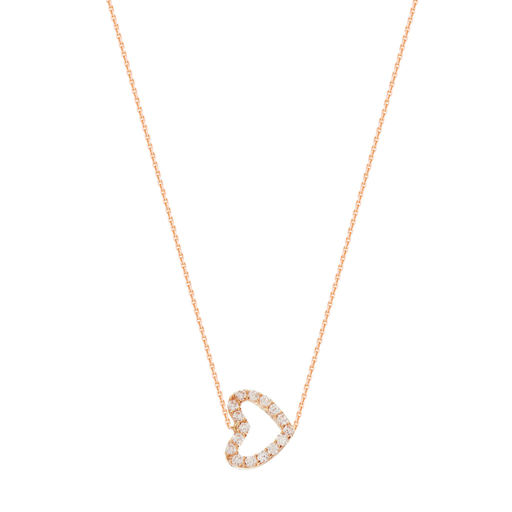 14k Rose Gold Mini Sideways Heart Necklace with Cubic Zirconia East2West