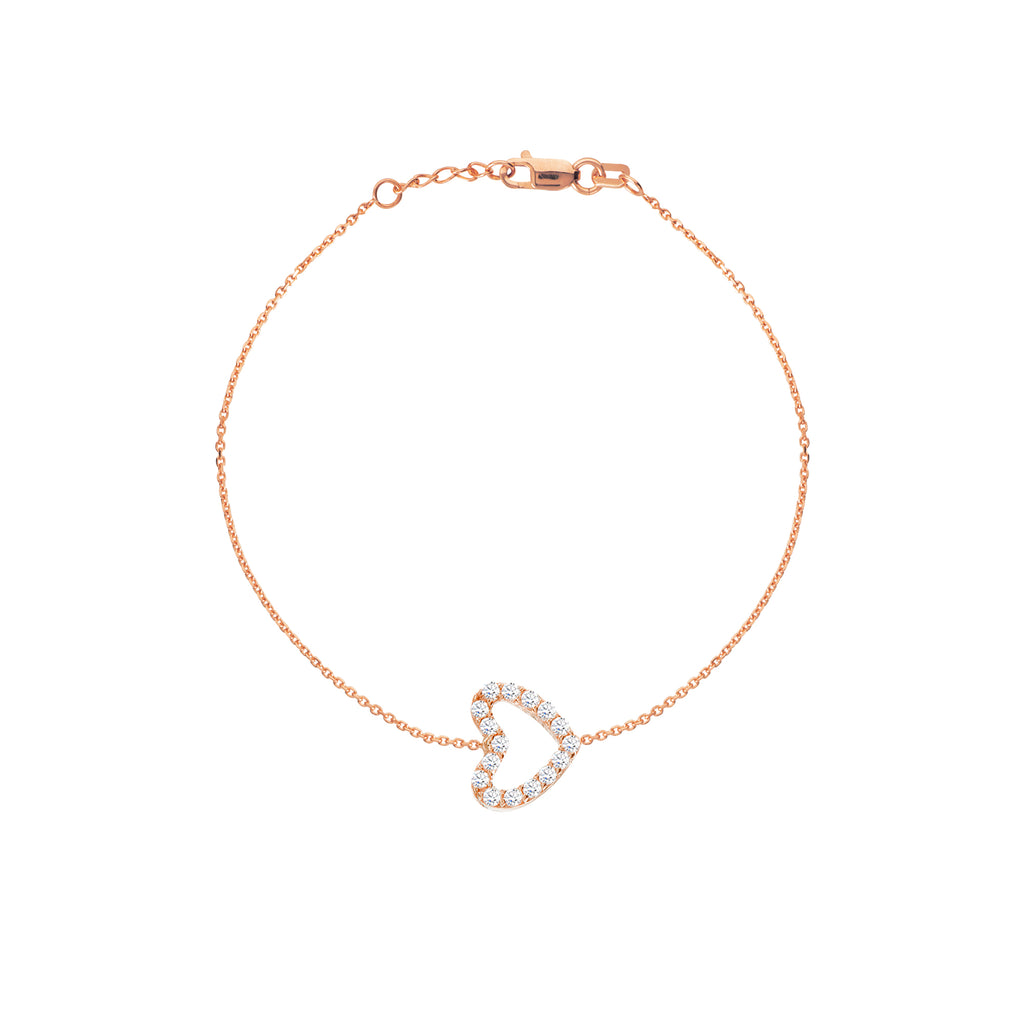 14k Rose Gold Mini Sideways Heart Bracelet with Cubic Zirconia East2West (TM)