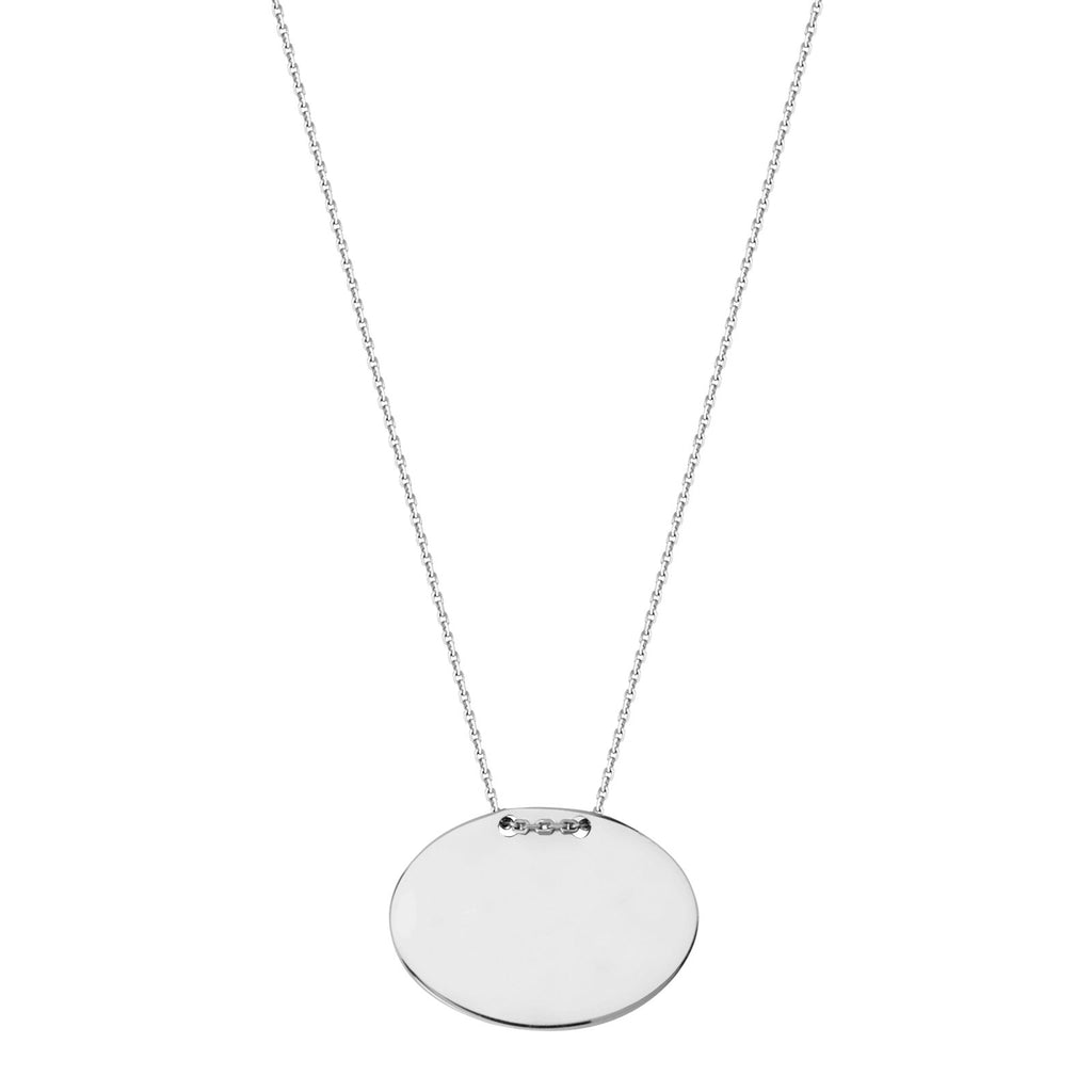Oval Shape Name Plate Tag Necklace Rhodium on Sterling Silver Adjustable Length