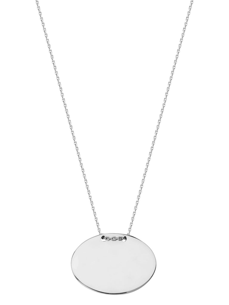 14k White Gold Engraveable Oval Tag Necklace East2West Tailored Collection