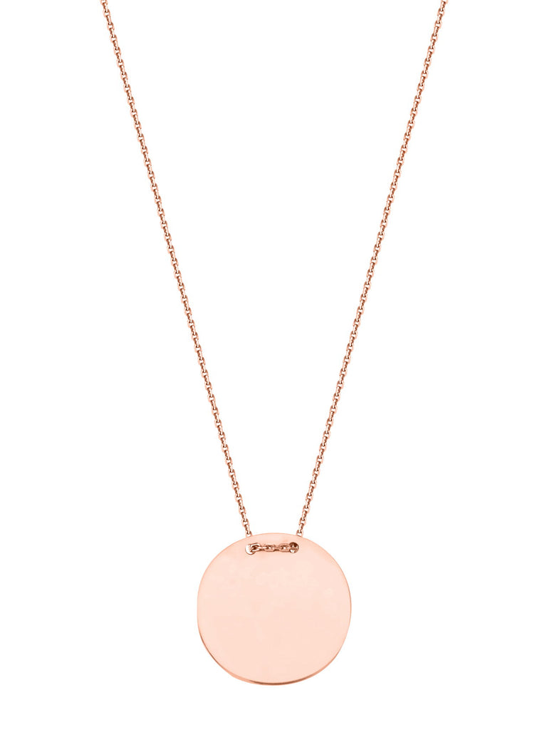 14k Rose Gold Engraveable Circle Tag Necklace East2West Tailored Collection