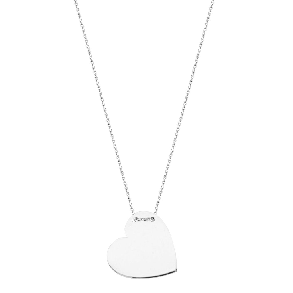 Heart Shape Name Plate Tag Necklace Rhodium on Sterling Silver Adjustable Length