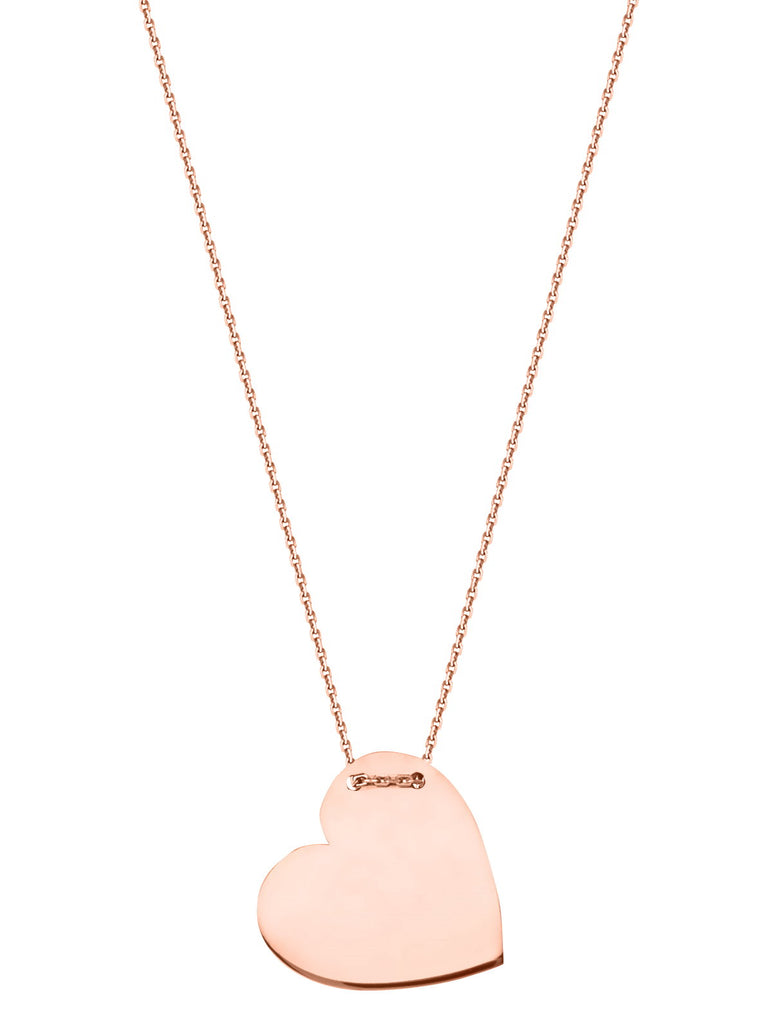 14k Rose Gold Engraveable Heart Tag Necklace East2West Tailored Collection