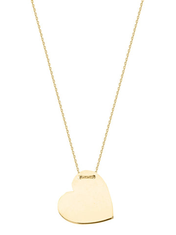 14k Yellow Gold Engraveable Heart Tag Necklace East2West Tailored Collection