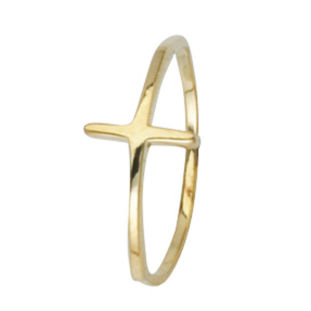 14k Yellow Gold Sideways Cross Ring Polished Finish