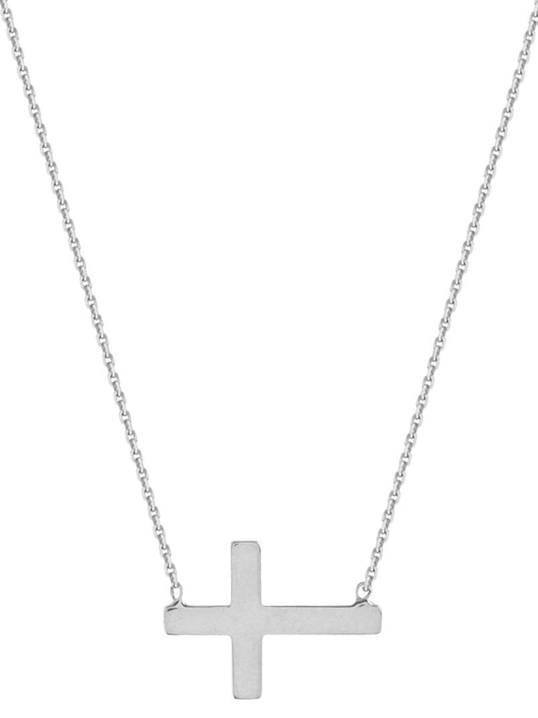 Mini Side Set Cross Necklace Adjustable Sterling Silver