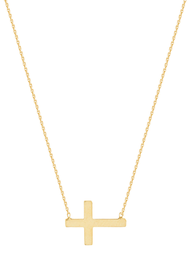 Mini Side Set Cross Necklace Yellow Gold on Sterling Silver
