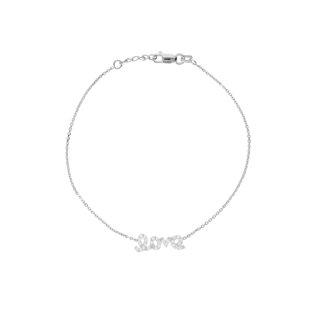 Mini Love Bracelet Rhodium on Sterling Silver Cubic Zirconia East 2 West