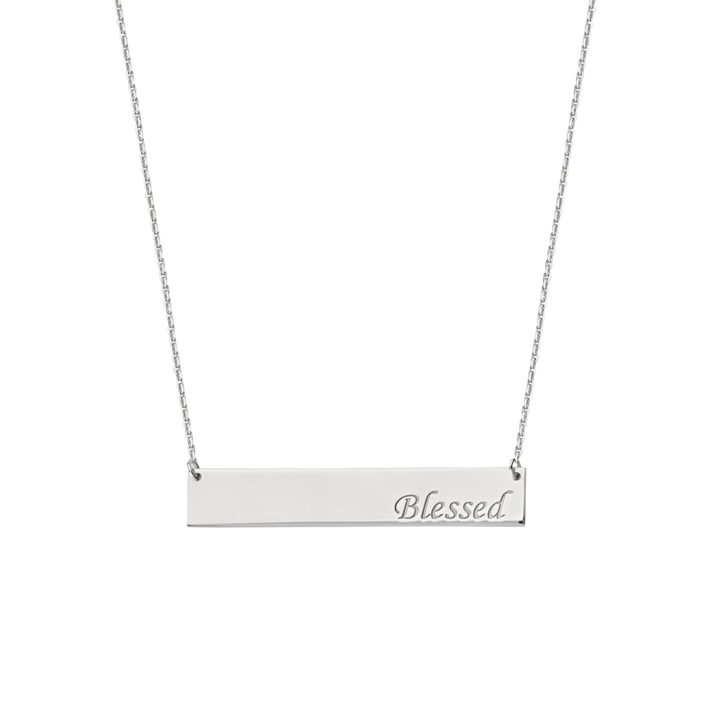 Engraved BLESSED Bar Necklace Rhodium on Sterling Silver - Adjustable Length