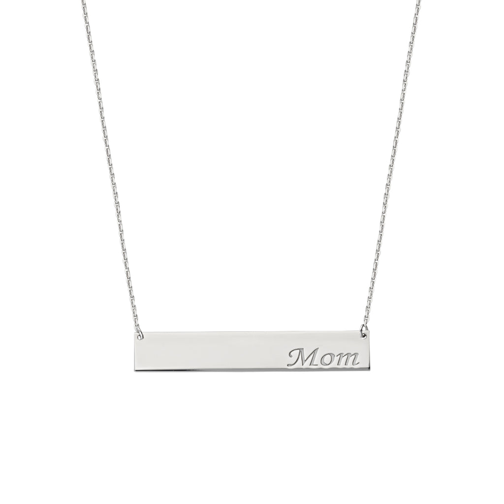Engraved MOM Bar Necklace Rhodium on Sterling Silver - Adjustable Length