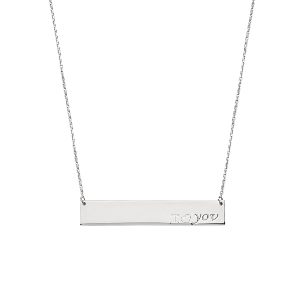 Engraved I LOVE YOU Bar Necklace Rhodium on Sterling Silver - Adjustable Length