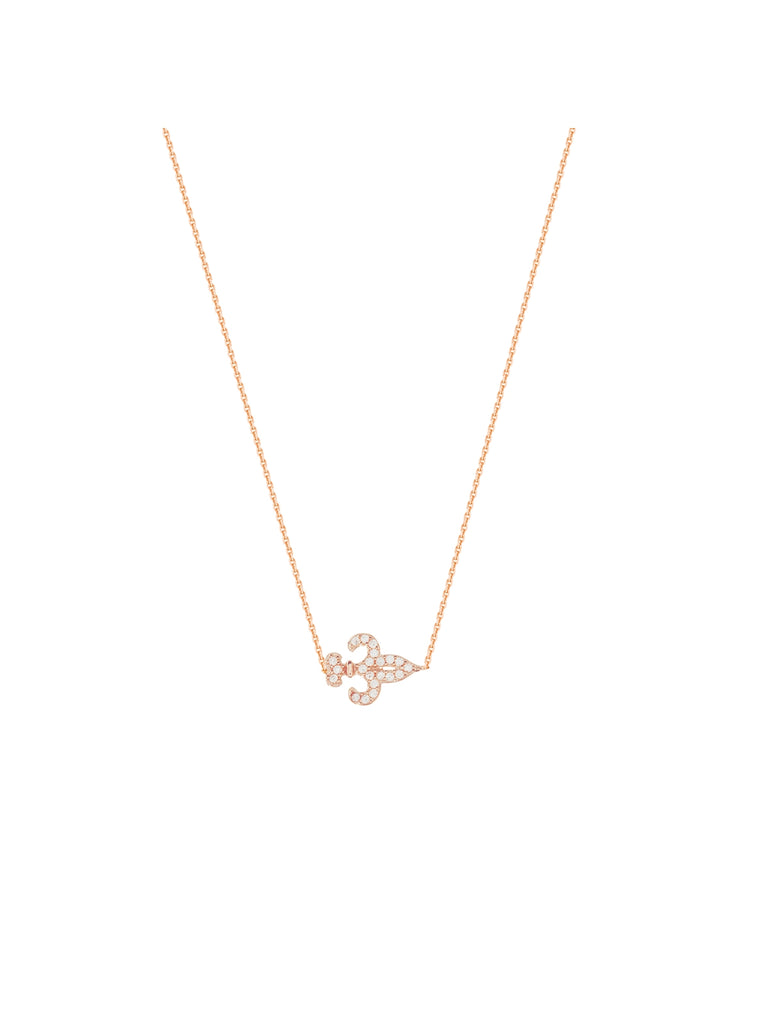 Mini Fleur-de-lis Necklace Rose Gold on Sterling Silver Cubic Zirconia Accents