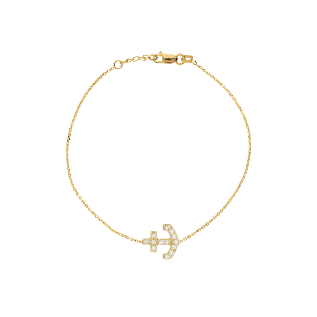 14k Yellow Gold Mini Anchor Bracelet with Cubic Zirconia East2West