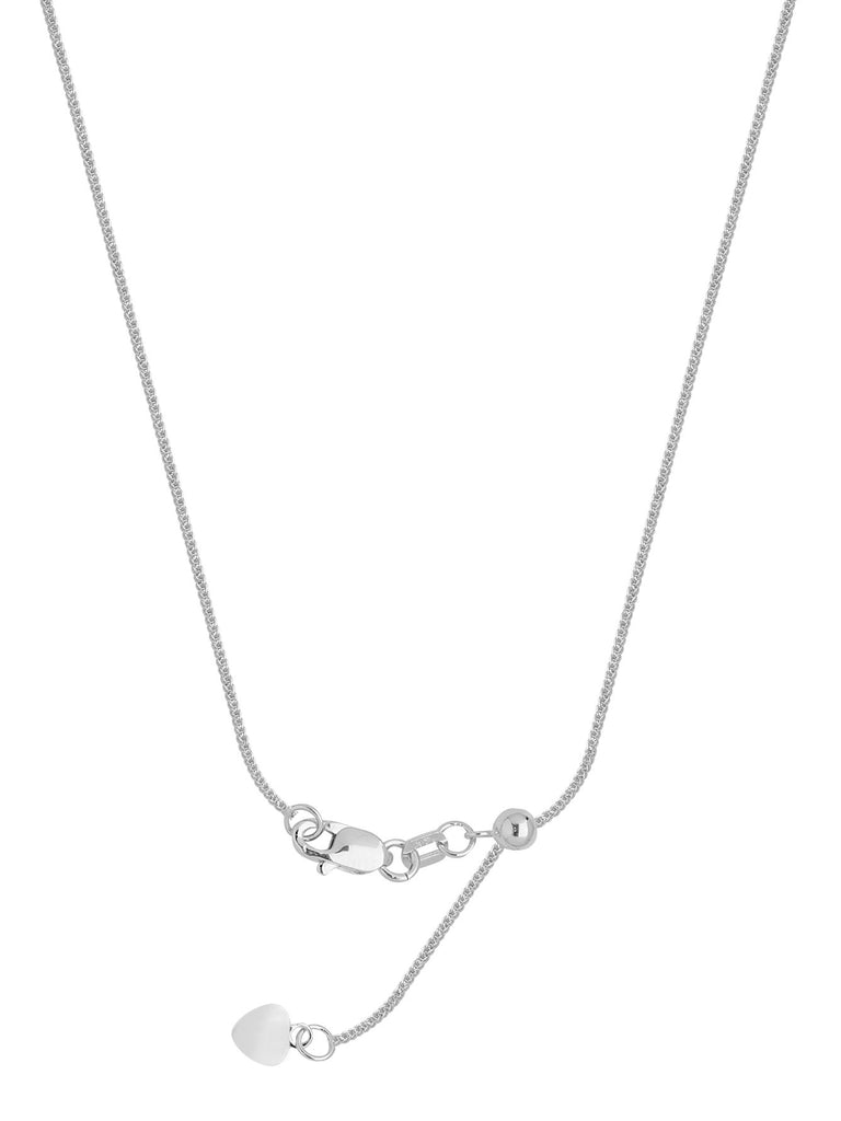 14k White Gold Adjustable 025 Square Wheat Chain with Slider Adjust Up to 22 inches
