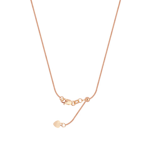 14k Rose Gold Adjustable Square Wheat Chain with Slider Adjust Up to 22 inches