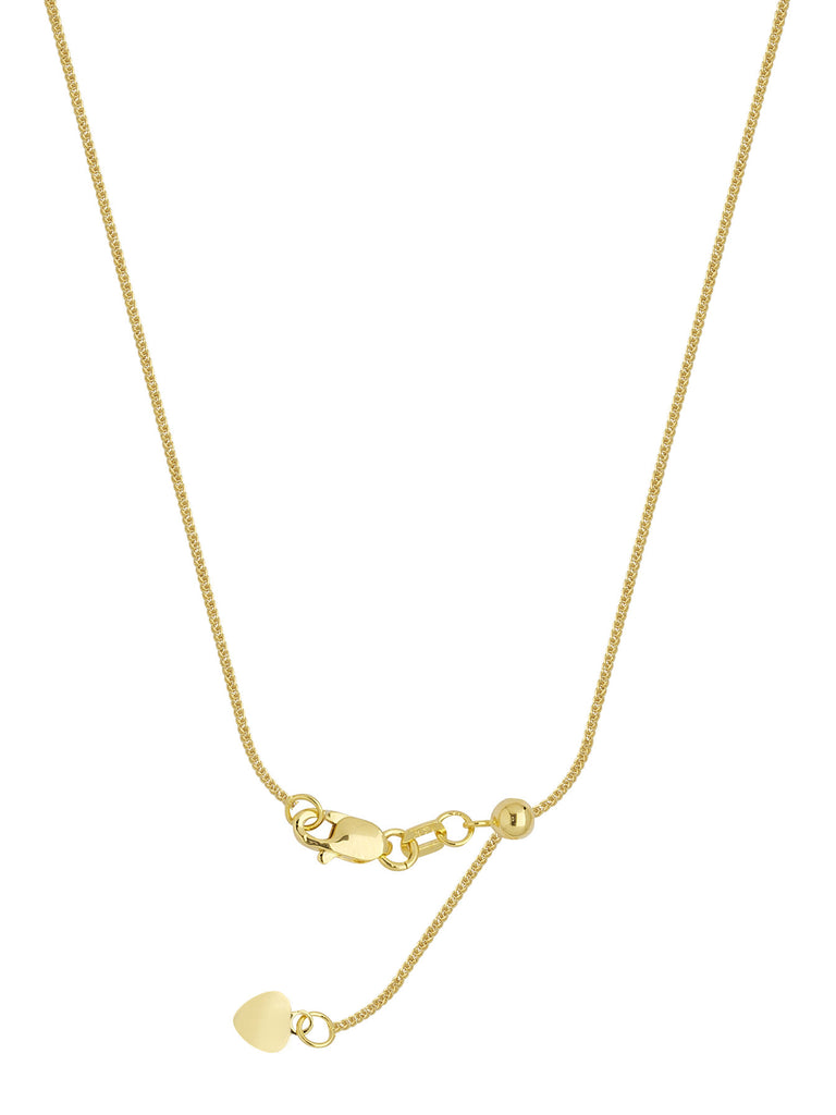 14k Yellow Gold Adjustable Square Wheat Chain with Slider Adjust Up to 22 inches