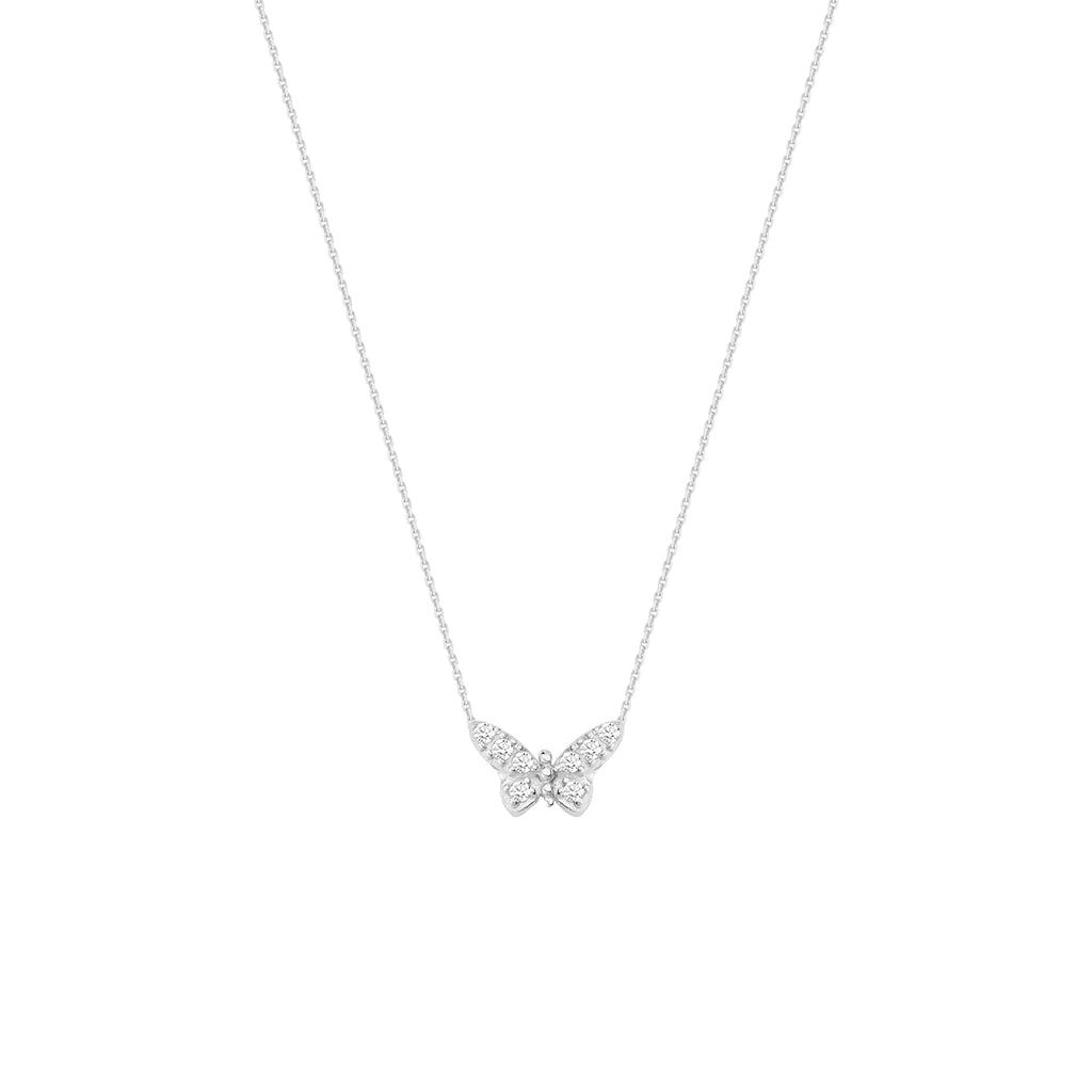 Mini Butterfly Necklace Rhodium on Sterling Silver Cubic Zirconia East 2 West