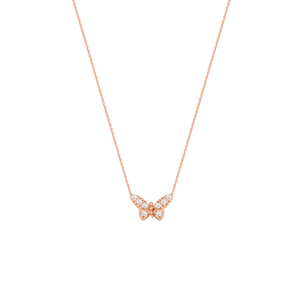 Mini Butterfly Necklace Rose Gold on Sterling Silver Cubic Zirconia East 2 West