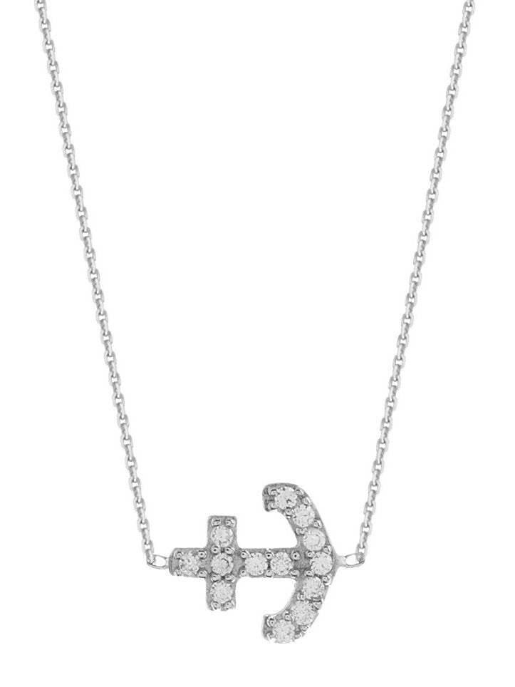 Mini Anchor East 2 West Necklace Rhodium on Sterling Silver Cubic Zirconia