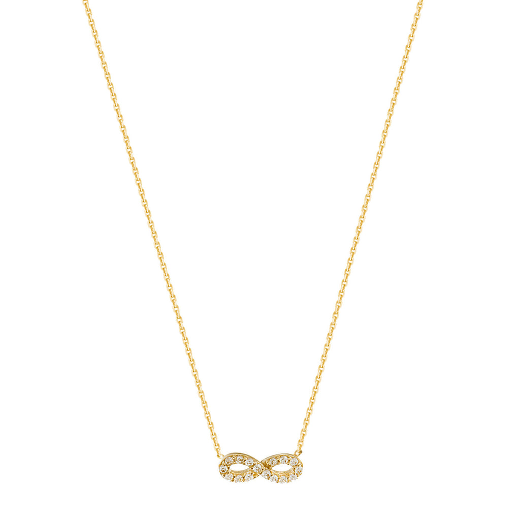 Mini Infinity Necklace with Cubic Zirconia Adjustable Gold on Sterling Silver