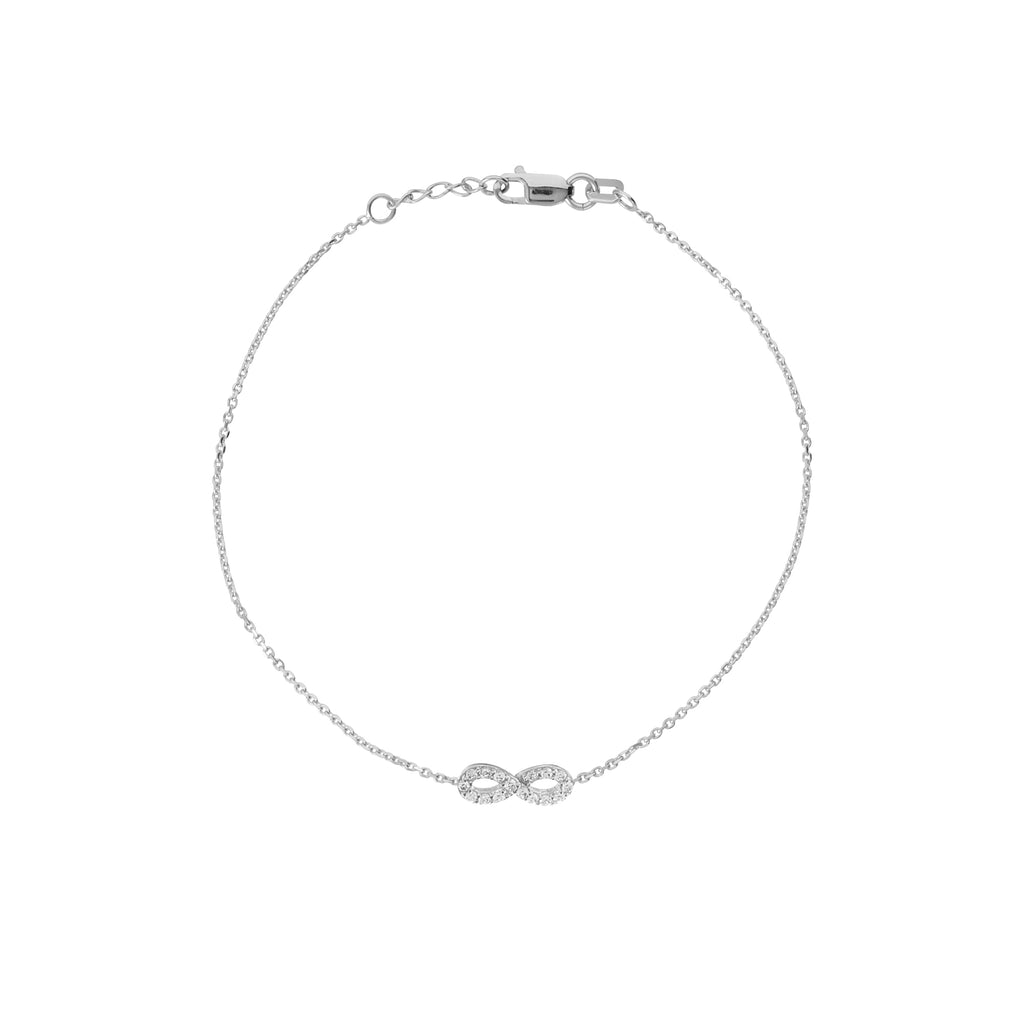 14k White Gold Mini Infinity Bracelet with Cubic Zirconia Adjustable Length