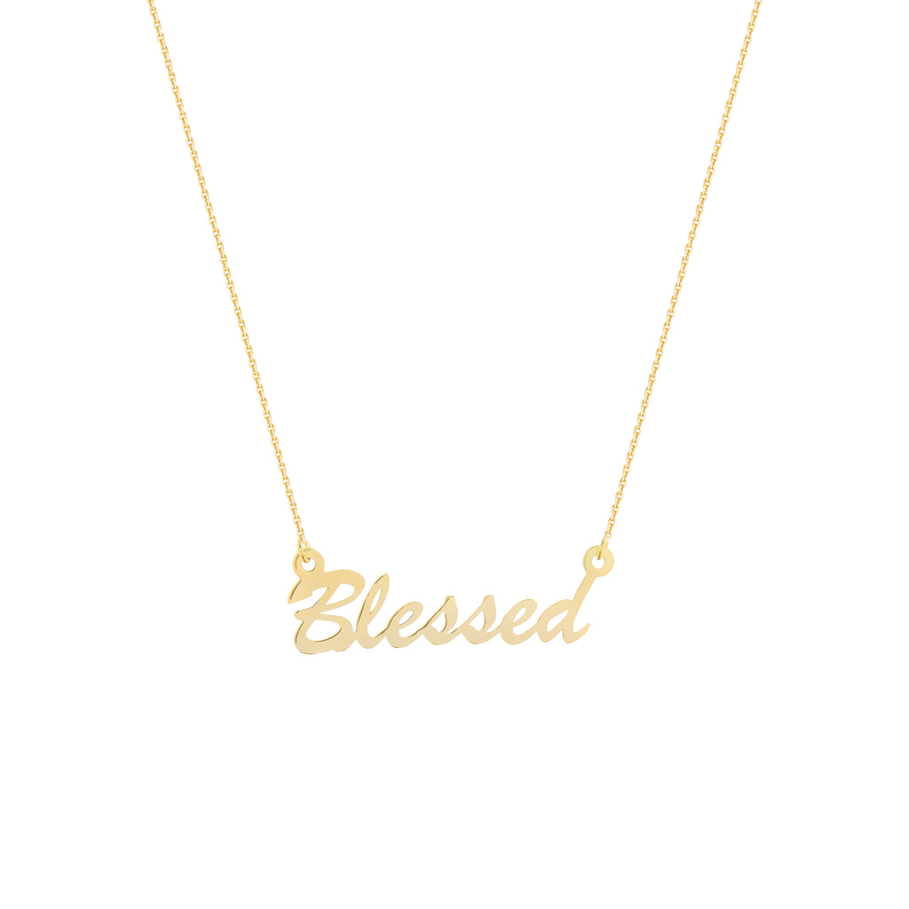 Blessed Necklace 14k Yellow Gold with Adjustable Length Chain