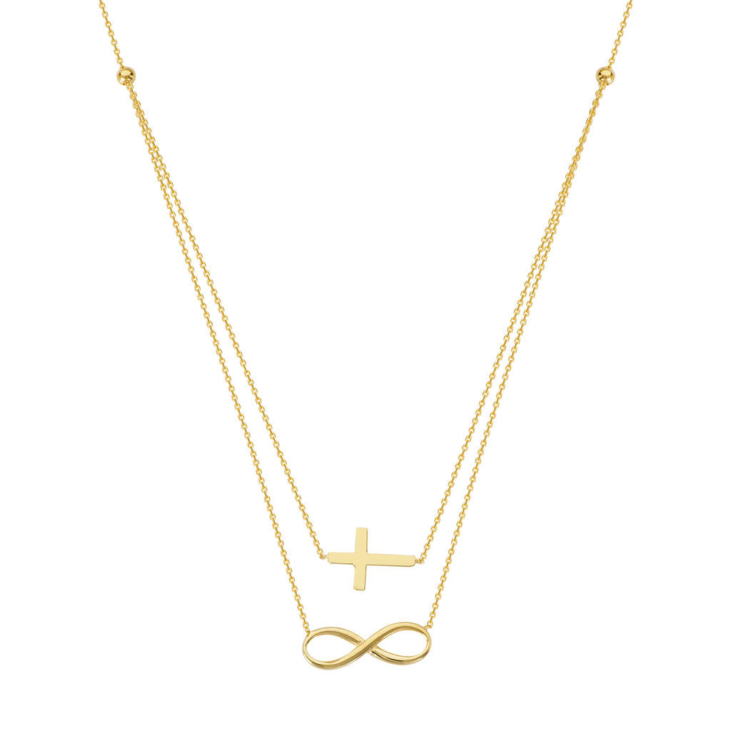 14k Yellow Gold Word Infinity Symbol and Sideways Cross Necklace - Layered Duos