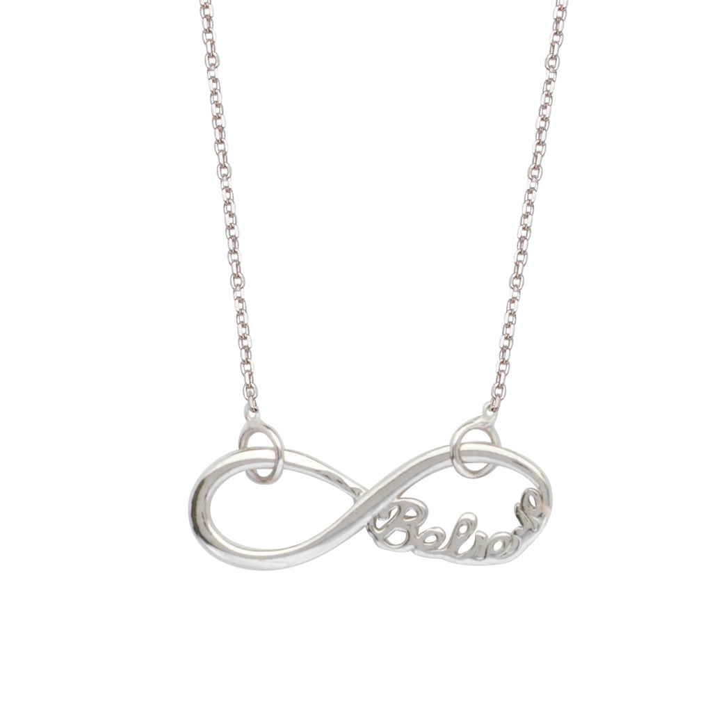 Infinity Necklace, Word Believe Adjustable East2West Rhodium on Sterling Silver