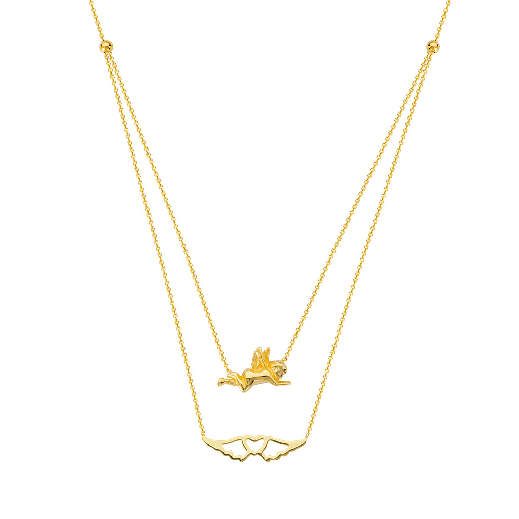 14k Yellow Gold Angel and Heart with Wings Necklace - Layered Duos
