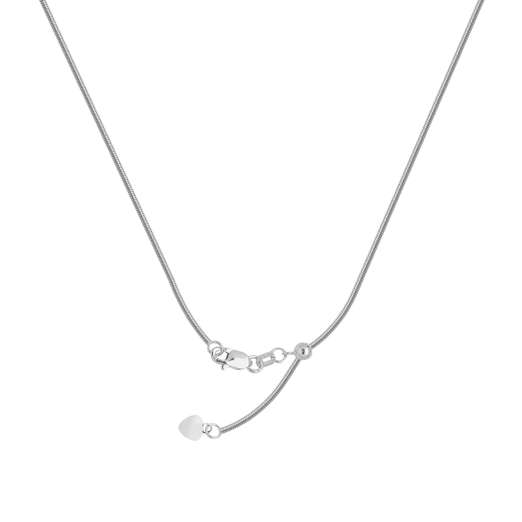 14k White Gold 035 Adjustable Snake Chain with Slider Adjust Up to 22 inches